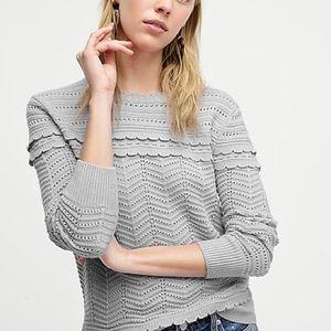 J. Crew   crewneck scalloped pointelle sweater